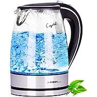 TZS First Austria - 2200 Watt Glas Edelstahl Wasserkocher 1,7 Liter blaue LED Innen-Beleuchtung 360 Grad, kabellos, Kalkfilter, BPA Frei, schwarz, Glaswasserkocher