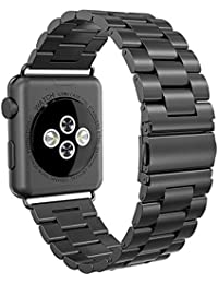 Apple Watch Armband 42mm, Swees Edelstahl Replacement Wrist Strap Band Uhrenarmband mit Metallschließe für Apple Watch 42mm Series 3 / 2 / 1 - Schwarz