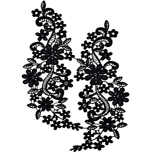 Pixnor Par de bordado escote hueco Collar flor del cordón costura de apliques adorno negro