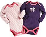 lupilu 2X Baby Langarmbodys (rosa-weiß-gestreift/violett, Gr. 62/68)