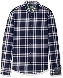 BOSS Green Mens C-Bopaz Check Long Sleeve Shirt, Dark Blue, L