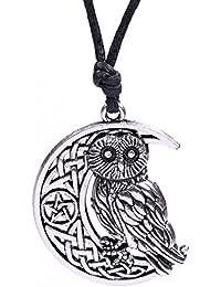 Wicca Irish Nœud Symbole, animal Chouette, lune et Pentacle Motif pendentif Collier