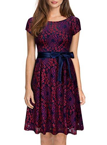 Miusol Kleid Elegant Hochzeit Brautjungfer Mini Spitzenkleider Abendkleider Rot - 3