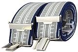 Alex Flittner Designs 4 Clips Hosenträger blau/grau/weiß gestreift mit starken Clips 3,5cm breit für Damen und Herren | Style 35