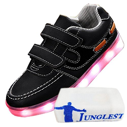 (Present:kleines Handtuch)JUNGLEST Damen Hohe Sneaker Weiß USB Aufladen LED Leuchtend Fasching Partyschuhe Sportsc c35
