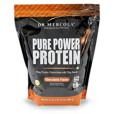 Dr. Mercola, Pure Power Protein, Whey Protein Concentrate with Chia Seeds, Chocolate Flavour, 2 lbs (909 g) from Dr. Mercola