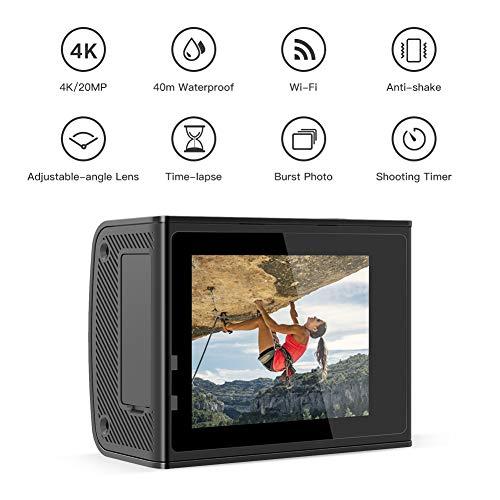 Crosstour CT9500 Cámara Deportiva Ultra HD 4K Wi-Fi 20MP (40M Camara Acuatica Impermeable, Funciones EIS Anti-Vibración y Slow Motion plus 2 Baterías de 1350 mAh )