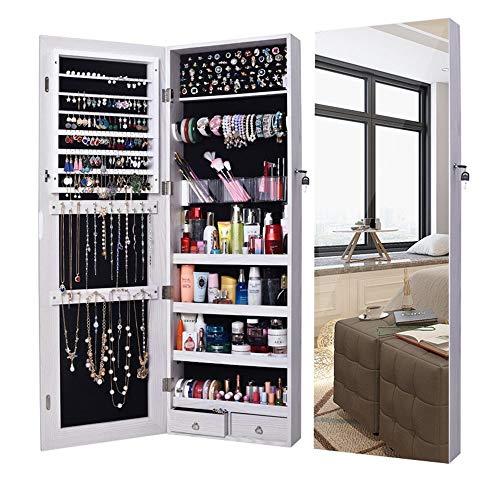 Zxllyntop Schmuckschrank Wandtürhalterung, die verspiegelten Schmuckschrank-Make-up-Schrank sperrt (Farbe : Weiß, Größe : Einheitsgröße)