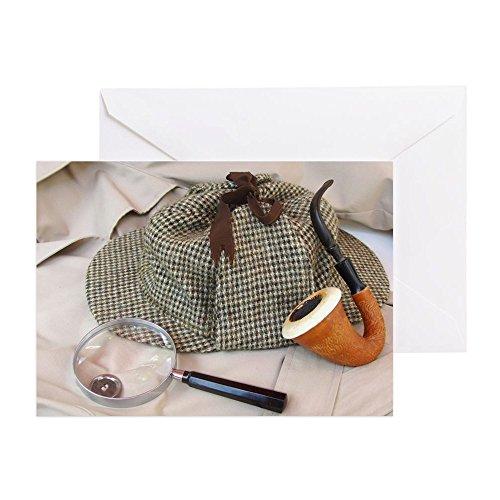 CafePress–Ein Tweed Hat, Calabash Rohr, und Magn–Grußkarte, Note Karte, Geburtstagskarte, innen blanko, (Hat Detective Rohr &)