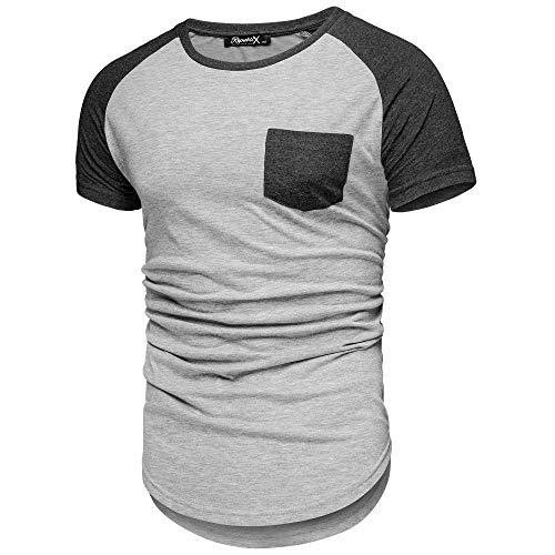 REPUBLIX Oversize Doppel Farbig Herren Slim-Fit Crew Neck Basic Pocket T-Shirt Rundhals R-0042 Hellgrau/Anthrazit S (Pocket T-shirts Für Männer)
