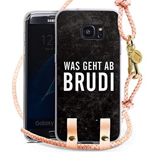 DeinDesign Samsung Galaxy S7 Edge Carry Case Hülle zum Umhängen Handyhülle mit Kette Bro Brudi Sprüche