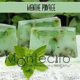 Seifenstück, handwerkliche 80g–Minze poivree–Seife mit Olivenöl und Mandelöl Weich