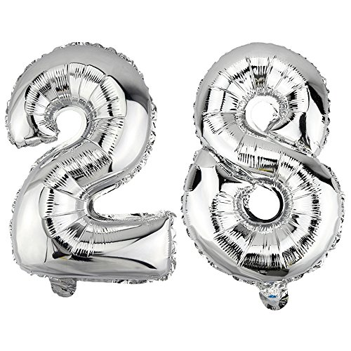 DekoRex 28 Globo en argentado 80cm de Alto decoración cumpleaños para Aire número