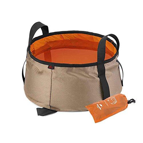 iBasingo 10L/16L Reise Folding Wasserbecken im Freien Camping Wasser Eimer Wasserbehälter Ultraleicht Tragbare Wasserdichte Fuß Becken für Wandern Angeln Wandern Gartenarbeit(Orange, 10L, Alt) (Schüssel Nachfüllen)