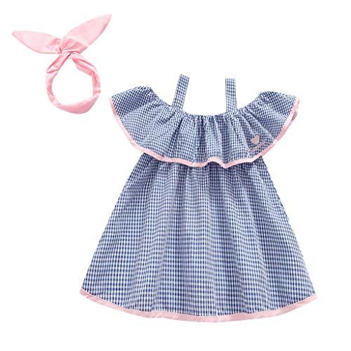 squarex Kleinkind Kind Baby Mädchen Kinder Schulterfrei Plaid Kleid Gedruckt Party Rock Prinzessin Kleid Kleidung Bestickte Sling Kleid - Sommer Bestickt Rock