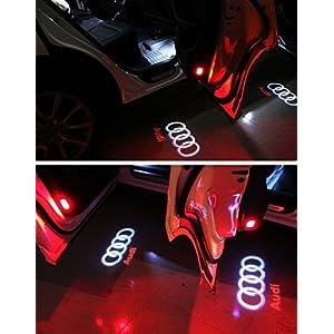 HConce Auto Tür Dekorative Eintrag Logo Projektor Lichter für A6L A4 A1 A5 A6 A4L A8 A3 R8 Q5 Q7 TT A8L A7 A6L Auto LED Projektor Willkommen Licht 4 Stück