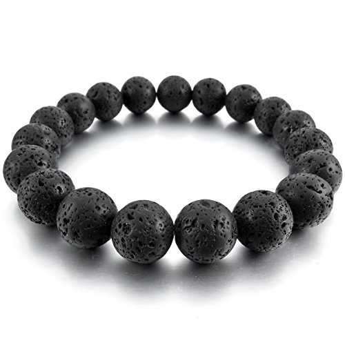 MunkiMix 12mm Energiearmband Energie Armband Link Handgelenk EnergieStein Lava Schwarz Buddha Gebet Mala Kugel Perle Perlen Herren,Damen