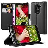 Cadorabo Hülle für LG G2 Mini Hülle in Phantom schwarz Handyhülle mit Kartenfach und Standfunktion Case Cover Schutzhülle Etui Tasche Book Klapp Style Phantom-Schwarz