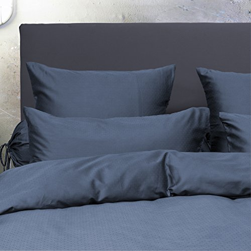 HnL Uni Puntini Baumwolle Bettwäsche Steel Blue 155×220 + 1x80x80