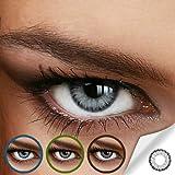 Farbige Jahres-Kontaktlinsen DIAMOND Light Gray - OHNE Stärke in Strong GRAU - von LUXDELUX - ohne Stärke (+/- 0.00 DPT)