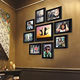 AJANTA ROYAL Individual Synthetic Polymer Wood Photo Frames(6-5x7-inch, 2-5x5-inch, 1-8x10-inch), Black- Set of 9
