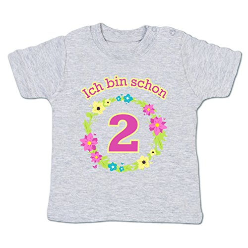 Shirtracer Geburtstag Baby - Ich Bin Schon 2 Blumenkranz - 18-24 Monate - Grau meliert - BZ02 - Babyshirt Kurzarm