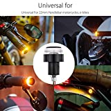 #1: Fabtec Bike Handle Bar End LED Blinker Indicator Light with Stylish Finish (Set Of 2) (Yellow & White)