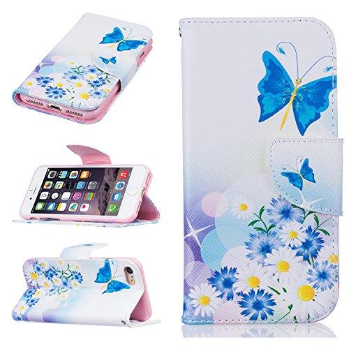 Coque, Cuir synthétique, Plum Blossom, iPhone 7 Papillon Bleu