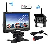 podofo Wireless Reverse Camera, 7' HD TFT LCD Vehicle Rear View Monitor + Waterproof Backup Camera Night Vision Parking System with Car Cigarette Lighter Charger for Truck RV Trailer(Nein Guide LINE)