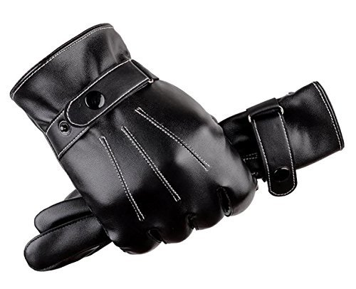 Scott Mens Touch Screen Texting Leather Gloves Mitten with Coral Velvet Lining 1Pair