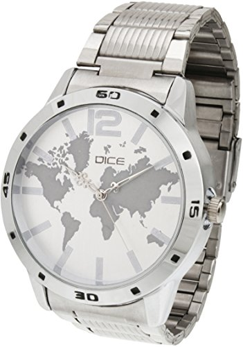 "Dice ""Numbers-4287"" Formal Round Shaped Wrist Watch for Men. Fitted with Beautiful White Color Dial, Stainless Steel Case and Chain"