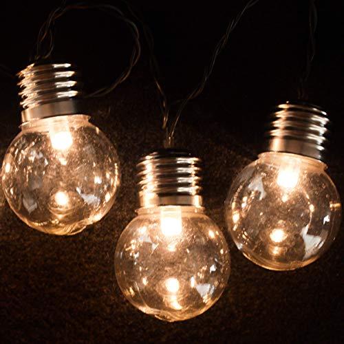 Garten-meile 10 X Retro Solarlicht Birnen Lichterketten 10 LED Klar Licht Birne-abdeckungen Mit 2 Modi Mehrzweck Verwendung Umweltfreundlich Wasserdicht Outdoor Lichterketten Solar Betrieben Globe Fee (Outdoor-lichterkette Globe)