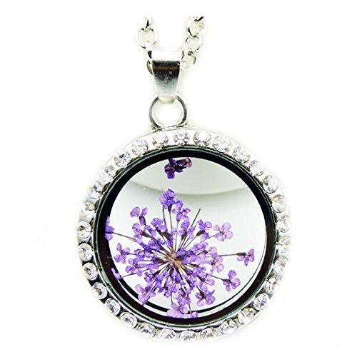 Adisaer Kette Damen Plexiglas Halskette Trockenblumen Lila Blumen Rund Diamant Zirkonia Anhänger Getrocknete Blumen Verlobung