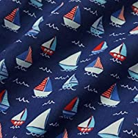 Nortex Mill Navy Blue Polycotton Fabric with Nautical Sailing Boats and Waves (Per Metre)