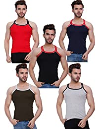 HAP KINGS RIB MENS GYM VEST MULTICOLOR PACK WITH PIPIN (PACK OF 5)