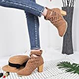 Sonnena Ladies Women Wedge Buckle Biker Ankle Trim High-Heeled Zip Ankle Boots Shoes