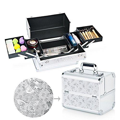 Boîte de beauté hotrose extra large pour maquillage, bijoux à ongles Butterfly Pattern, Silver L