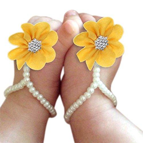 Toddler sandali della spiaggia, FEITONG Scarpe Misaki 1 paio Infant Pearl Chiffon A piedi nudi del piede del fiore (Free Size, Giallo)