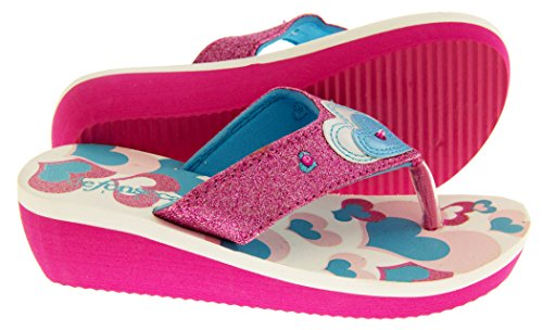 De Fonseca Eté Tongs Sandales Chaussures de Plage Filles Coeurs De Paillettes Rose Et Bleu