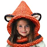 Hosaire 1X Hiver Bonnet/Écharpe En Laine Tricoté en forme Renard pour enfant fille-Orange