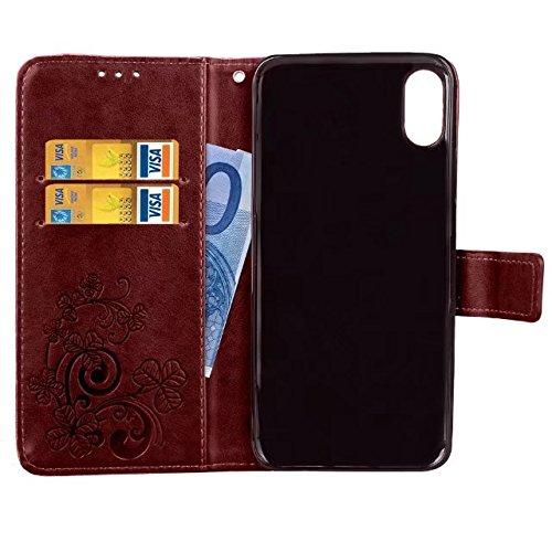 Xperia XZ Premium custodia, floreale custodia a portafoglio in pelle PU con mano cinturino da polso, fiore Flip in pelle per Sony Xperia XZ Premium case, Rose, iPhone X Brown