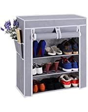 PAffy Steel and Fabric Multi-Purpose Shoe Rack, 4 Layer, Multi-Color