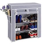PAffy Shoe Cabinet, 4-5 Layer, Shoe Rack Organiser, Colour - Grey