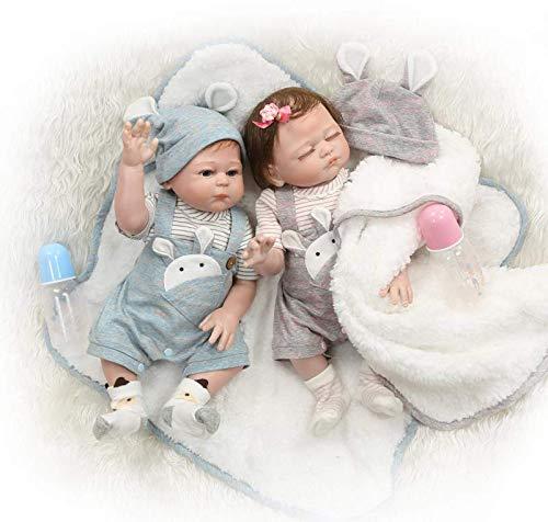 0 cm Realistische Kaninchen Sanfte Berührung Paar Wiedergeboren Baby Puppe in Silikon Vinyl Ganzkörper Neugeborenen Puppen Zwillinge Wahable für Kinder ()