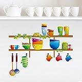ufengke home Bunte Diverse Kitchenwares Wand Aufkleber Erstellen Imaginäre Küche Regale Dekorative Abnehmbare Wandstickers DIY Vinyl Wandtattoo für Esszimmer, Küche