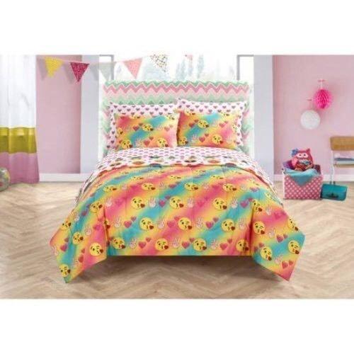 Mädchen Emoji-Rainbow Ikonen Queen Tröster, Blatt & kissenrollen (7-teiliges Bett in einer Tasche) + Homemade Wax Melt