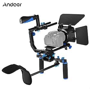 Andoer D102 Lega di Alluminio Cage Kit di Montaggio per Video Camera con Spallina 15mm Asta Scatola Opaca Segue il Fuoco Presa della Impugnatura per Canon Nikon DSLR