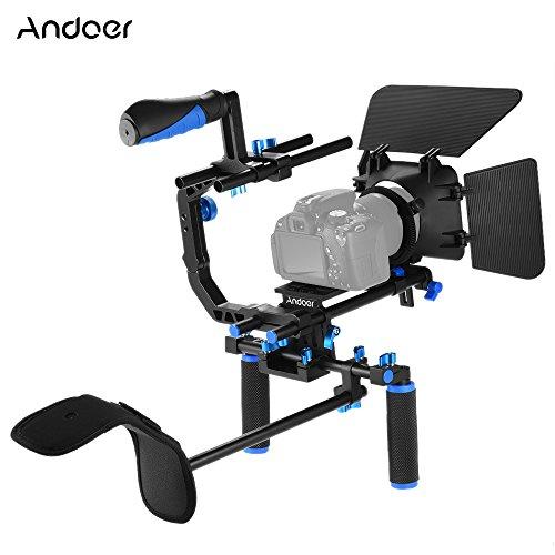 Andoer D102 Aluminiumlegierung Kamera Camcorder Video Cage Kit Film-Herstellung-System mit Cage Schulterpolster 15mm Rod Matte Box Follow Focus Handgriff für Canon Nikon DSLR -