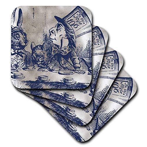 3Mad Hatter Vintage Alice im Wunderland Tee Party-Ceramic Tile Untersetzer, 4Stück ()