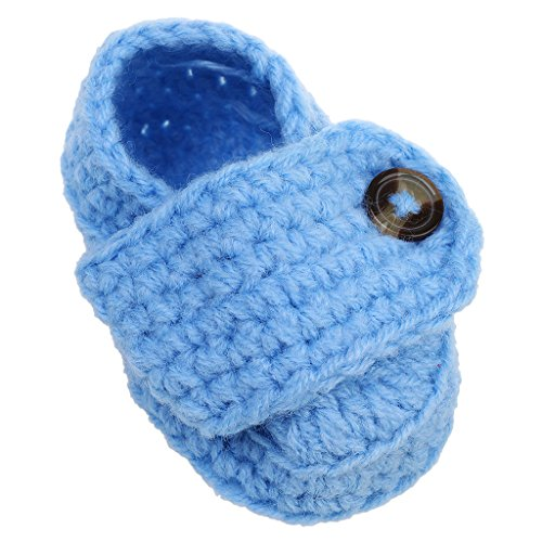 Generic Baby kinder Handgestrickte Grau Anti-Rutsch-Winter Prewalker Schuhe Knopf aus Baumwolle - Grau Hellblau